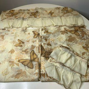 vintage curtain valance set brown cream butterfly